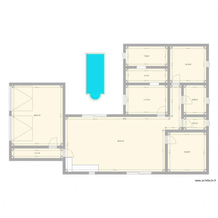Plan maison plan 10 pi ces 148 m2 dessin par dutriaux for Taille moyenne maison