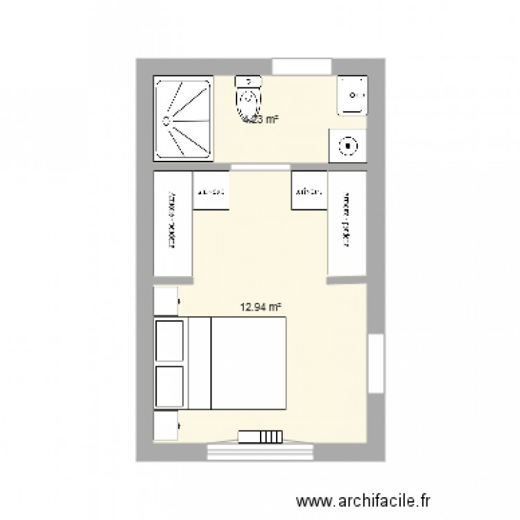 suite parentale 17m2 alice n3 plan 2 pi ces 17 m2 dessin par foxalice. Black Bedroom Furniture Sets. Home Design Ideas