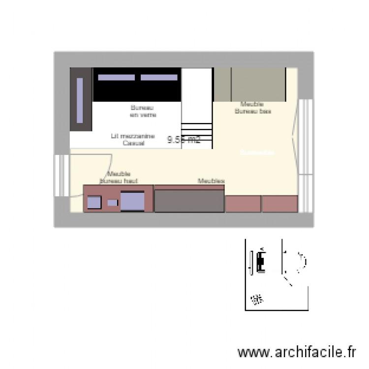Bureau chbre v2 plan 1 pi ce 10 m2 dessin par for Nombre de m2 par personne bureau