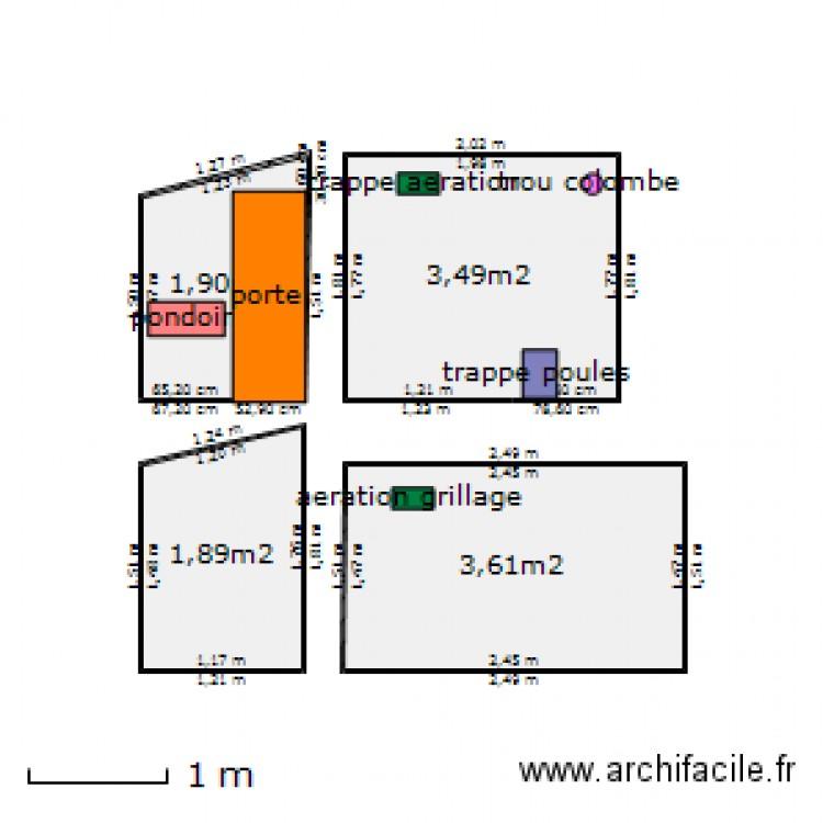 Poulailler plan 4 pi ces 11 m2 dessin par zecin83 - Plan pour faire un poulailler ...
