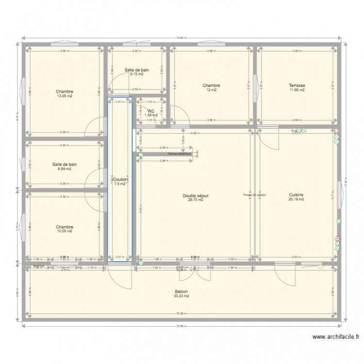 Maison plan 11 pi ces 147 m2 dessin par frederico for Taille moyenne maison