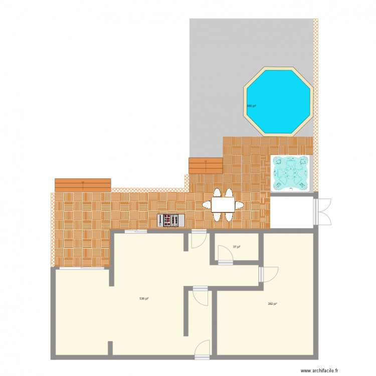 Plan patio 2 plan 4 pi ces 134 m2 dessin par maude for Dessiner plan patio