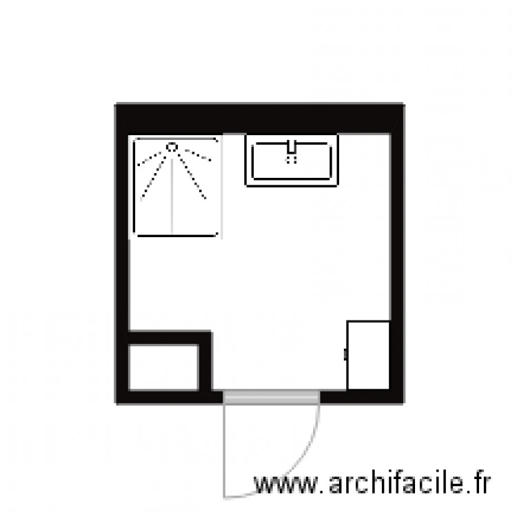 appart salle de bain plan 2 pi ces 5 m2 dessin par nimiperle. Black Bedroom Furniture Sets. Home Design Ideas