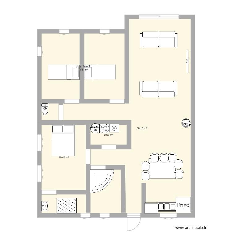 Plan Maison L 100 M 2 Plan 4 Pieces 90 M2 Dessine Par Sarahnajimnaim