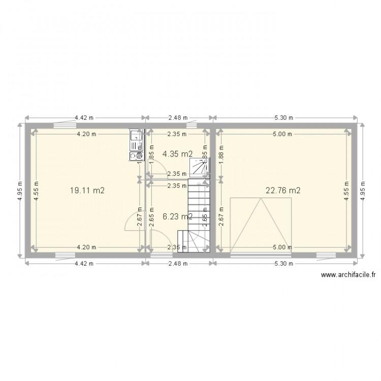 Petite maison rdc complet plan 4 pi ces 52 m2 dessin for Plan maison complet