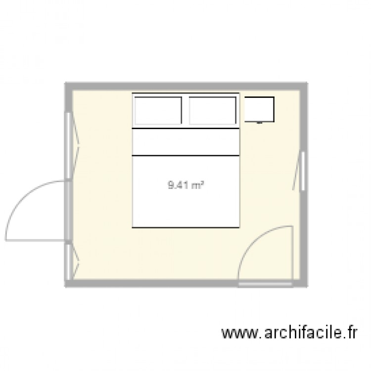 Chambre plan 1 pi ce 9 m2 dessin par apparthdb for Chambre one piece