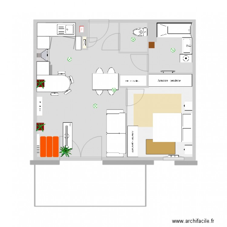 appartement chemin des berges pour feng shui 2 plan 7 pi ces 47 m2 dessin par fengshui conseils. Black Bedroom Furniture Sets. Home Design Ideas