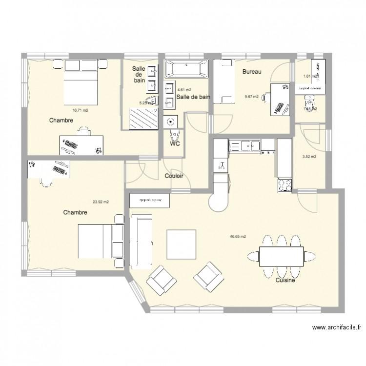 Appartement cuisine am ricaine 2 grandes chambre et bureau for Nombre de m2 par personne bureau