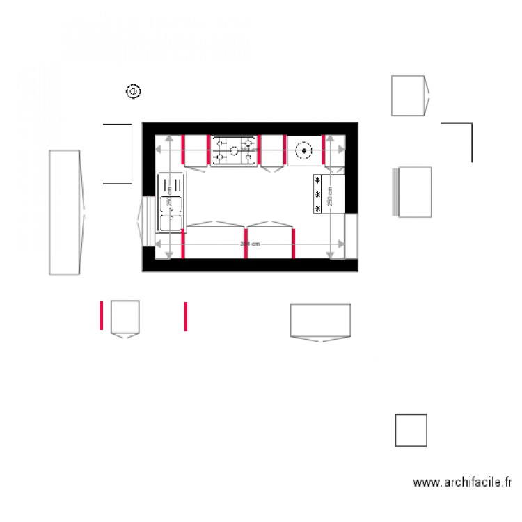 cuisine plan 1 pi ce 10 m2 dessin par cuisali. Black Bedroom Furniture Sets. Home Design Ideas