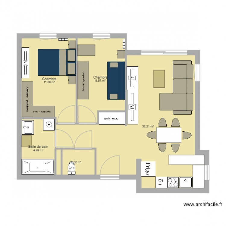 maison plan 5 pi ces 62 m2 dessin par jordan. Black Bedroom Furniture Sets. Home Design Ideas
