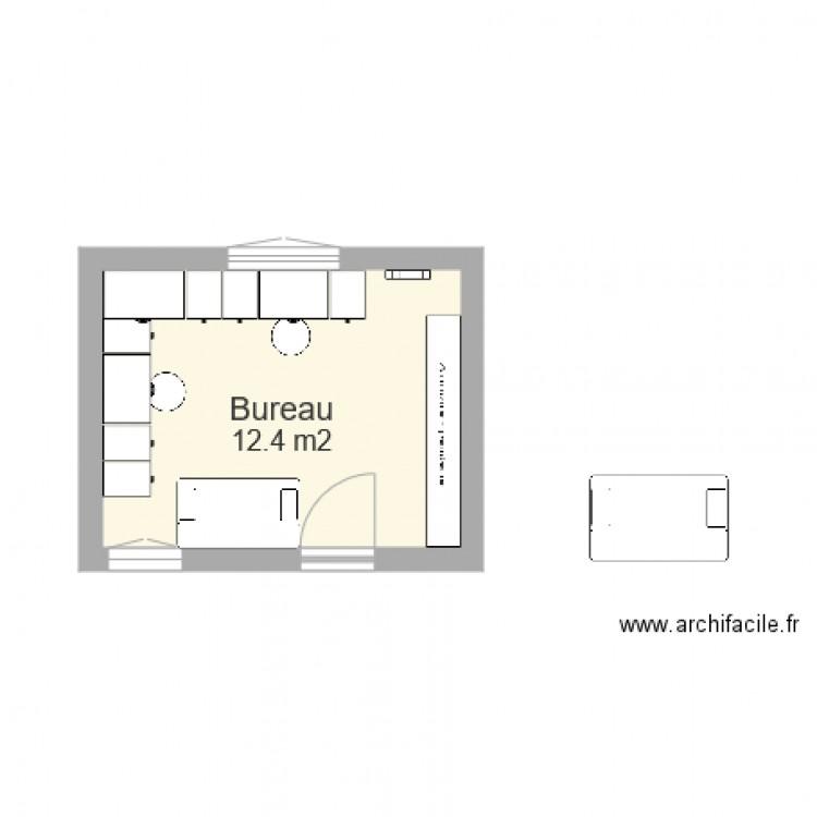 Bureau 1 plan 1 pi ce 12 m2 dessin par marina couka for Nombre de m2 par personne bureau