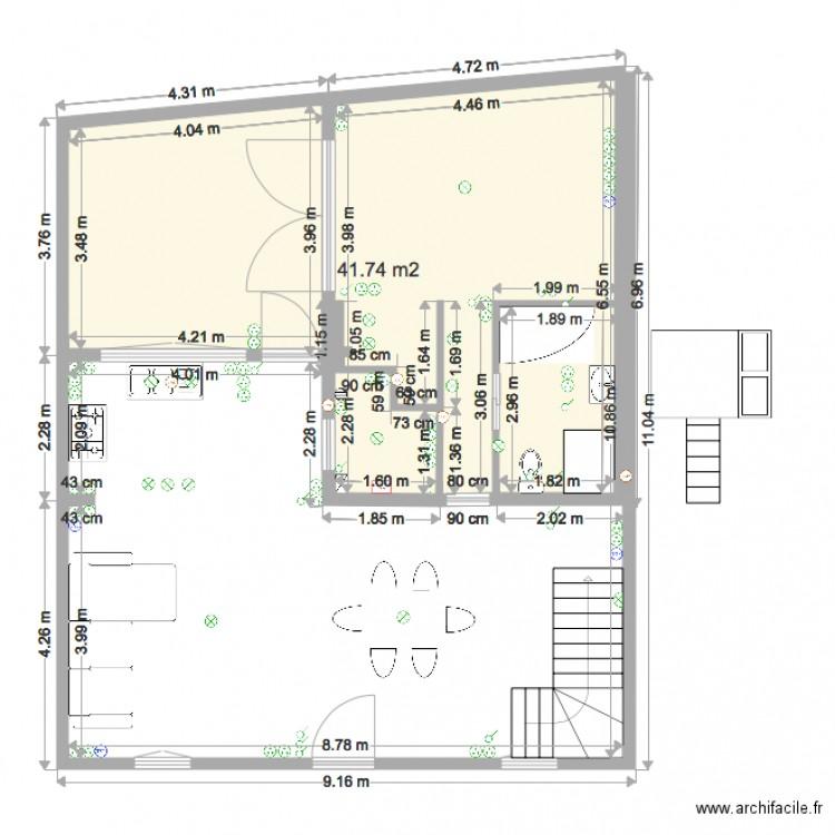 elec bas test4 plan 1 pi ce 42 m2 dessin par djoulii. Black Bedroom Furniture Sets. Home Design Ideas