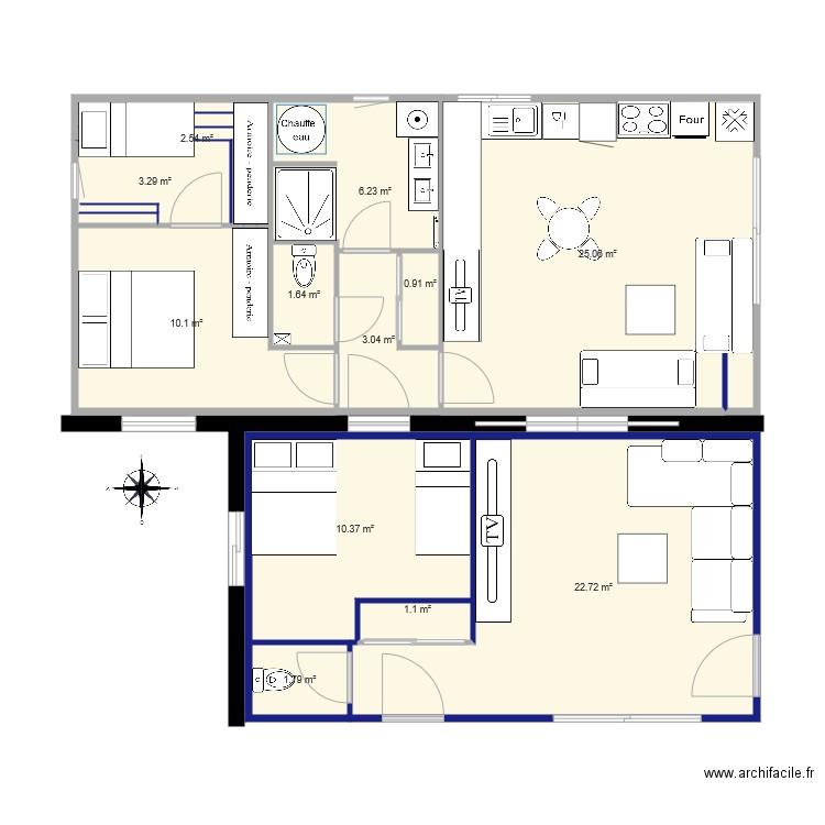 55m 2 Chambres Enfilade. Plan De 12 Pièces Et 89 M2