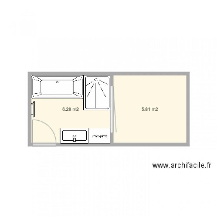 salle de bain plan 2 pi ces 12 m2 dessin par appart paradis. Black Bedroom Furniture Sets. Home Design Ideas