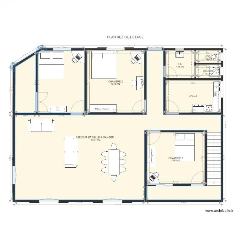 Plan3 plan 7 pi ces 150 m2 dessin par jean 160767 for Plan appartement 150 m2