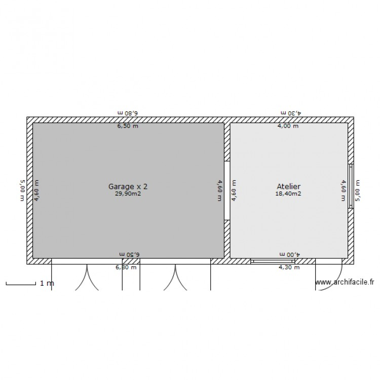 double garage atelier plan 2 pi ces 48 m2 dessin par ludo03410. Black Bedroom Furniture Sets. Home Design Ideas