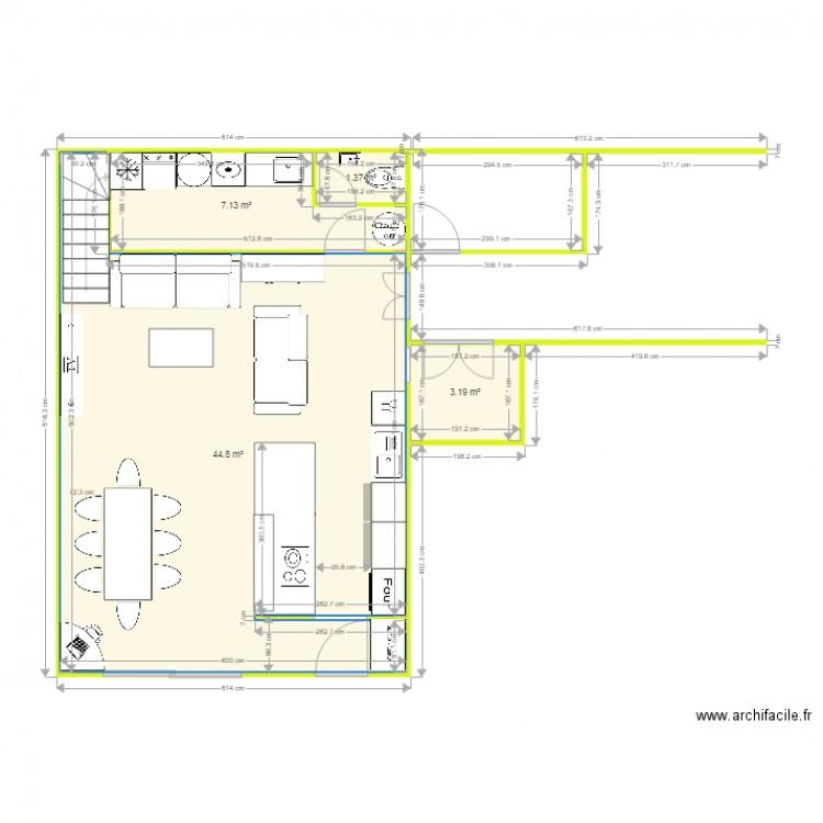 rez de chauss e maison 2 plan 4 pi ces 56 m2 dessin par. Black Bedroom Furniture Sets. Home Design Ideas