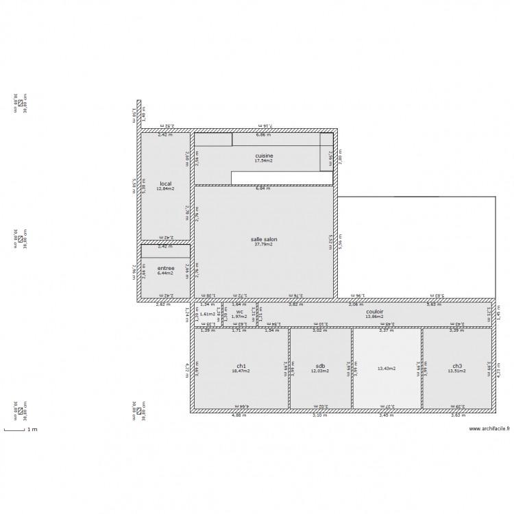 Maison projet f5 plan 11 pi ces 150 m2 dessin par for Plan de maison f5