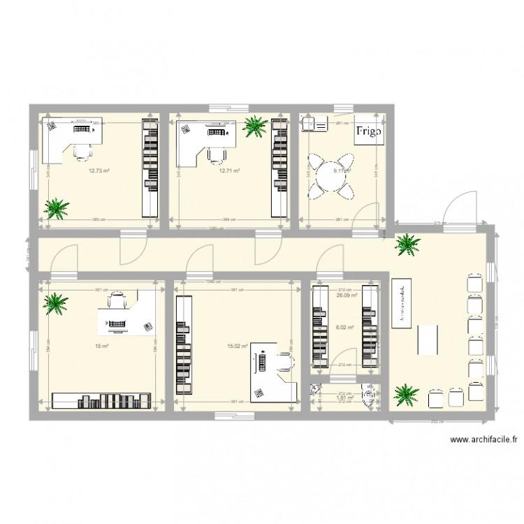 Bureau ldb plan 8 pi ces 98 m2 dessin par maromatel for Nombre de m2 par personne bureau