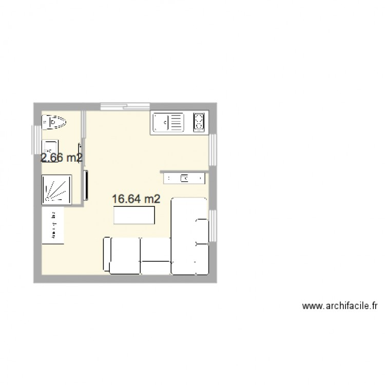 studio 20m2 plan 2 pi ces 19 m2 dessin par tlc. Black Bedroom Furniture Sets. Home Design Ideas