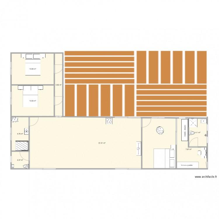 PLAN MAISON CONTENEUR - Plan 8 pièces 106 m2 dessiné par inina972