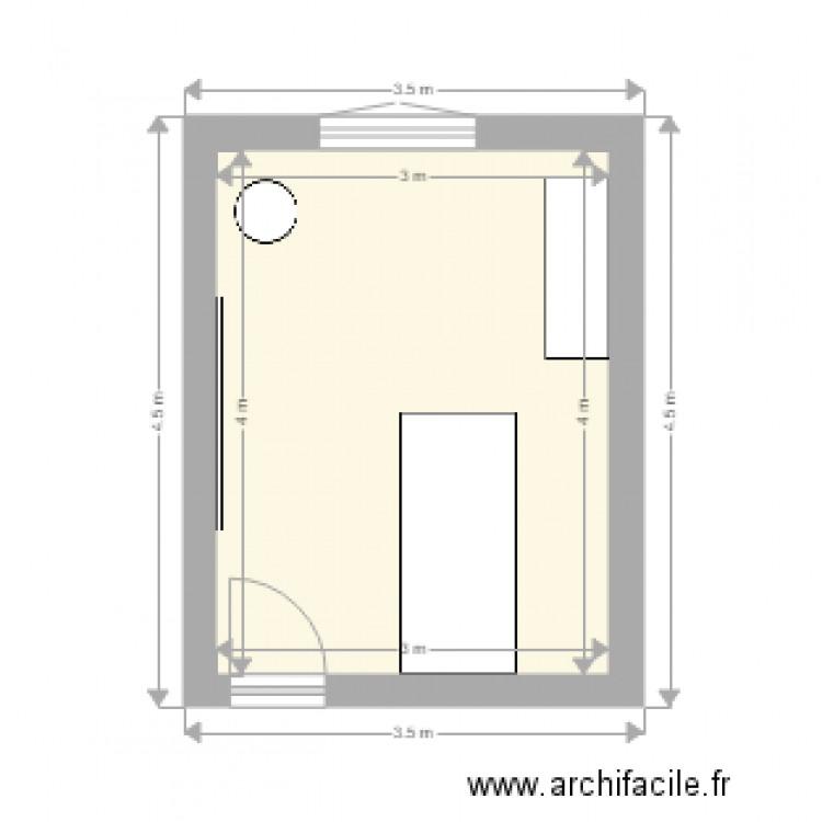 Chambre jo1 plan 1 pi ce 12 m2 dessin par uid26061 for Chambre one piece