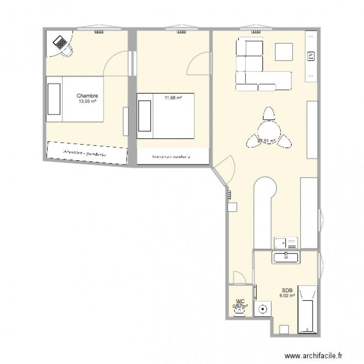 Plan Appart Maxime Meublé avec 2 Chambres  Plan 5 pièces 59 m2 dessiné par E