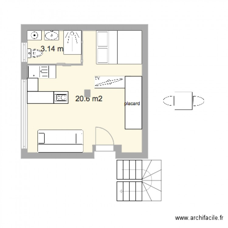 plan appartement 24 m2