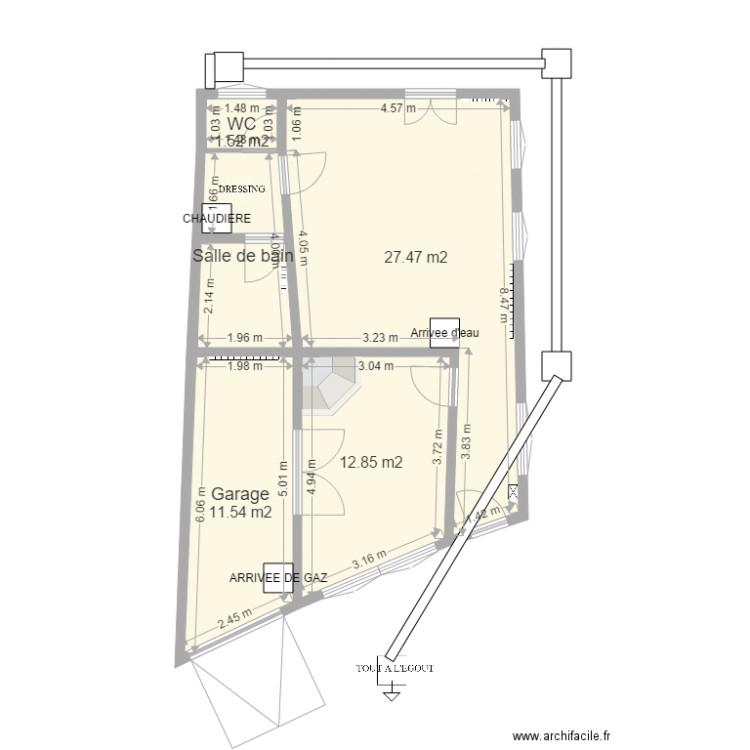 plan maison fathi rdc plan 5 pi ces 60 m2 dessin par eloued. Black Bedroom Furniture Sets. Home Design Ideas