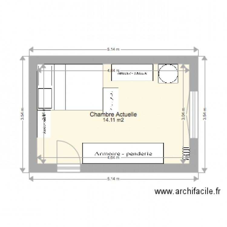 Chambre adulte actuelle plan 1 pi ce 14 m2 dessin par for Chambre one piece