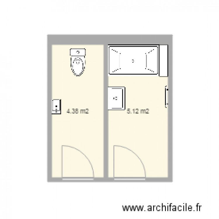sdb etat plan 2 pi ces 10 m2 dessin par ergowitters. Black Bedroom Furniture Sets. Home Design Ideas