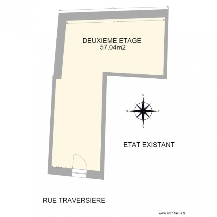 permis de construire existant 2eme plan 3 pi ces 125 m2 dessin par tom petiot. Black Bedroom Furniture Sets. Home Design Ideas