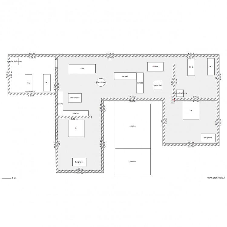 Maison location plan 1 pi ce 150 m2 dessin par bendodo for Taille moyenne maison