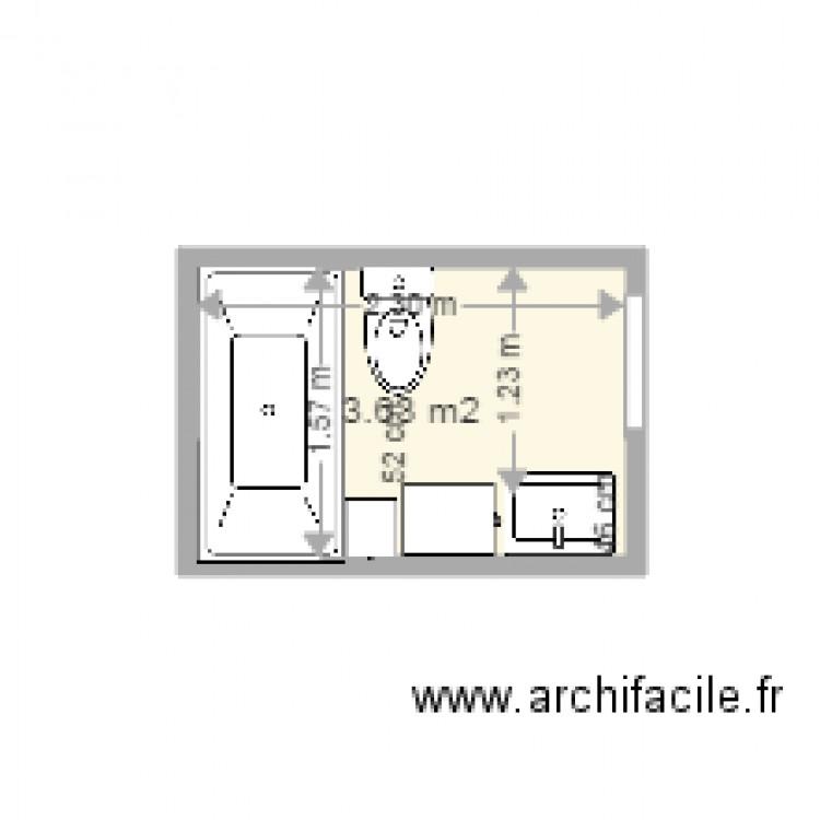 Salle de bain montreuil plan 1 pi ce 4 m2 dessin par for Salle de bain 4 m2