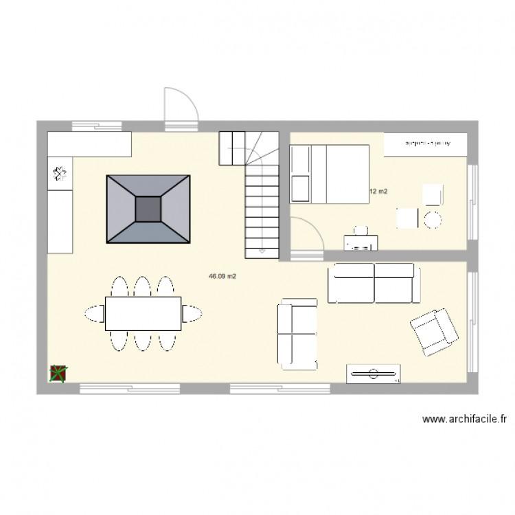 id es de plan maison plan 2 pi ces 58 m2 dessin par. Black Bedroom Furniture Sets. Home Design Ideas