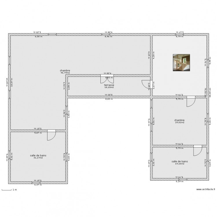 maison u tage plan 6 pi ces 232 m2 dessin par casafred. Black Bedroom Furniture Sets. Home Design Ideas