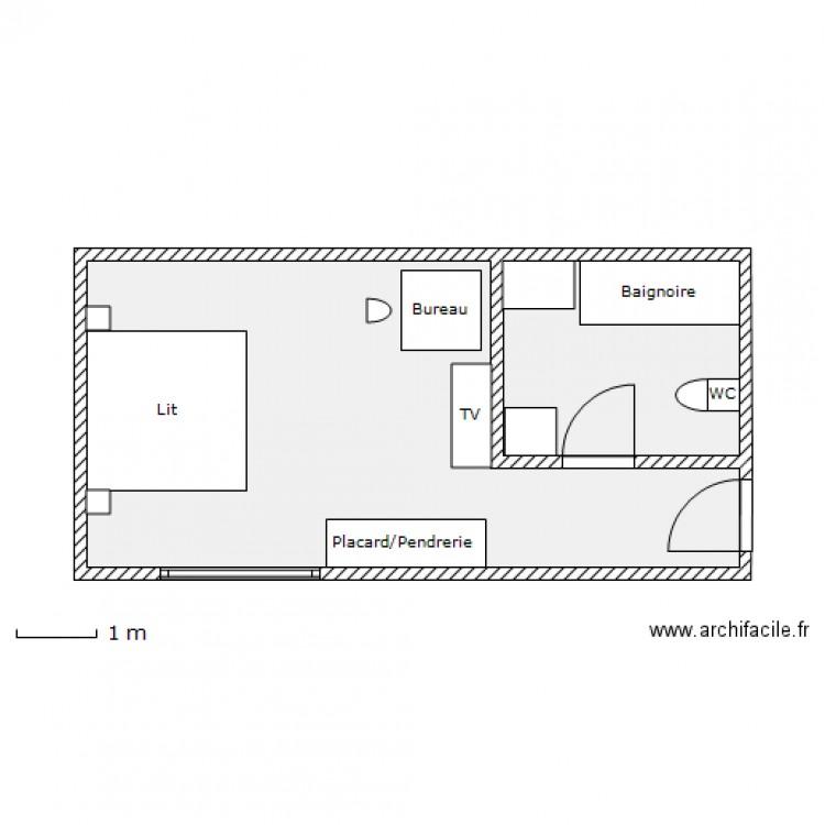 Chambre handicap plan 2 pi ces 31 m2 dessin par test01 for Plan de maison pour handicape