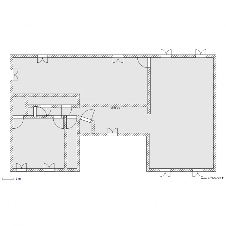 rez de chauss plan 1 pi ce 147 m2 dessin par luluw. Black Bedroom Furniture Sets. Home Design Ideas