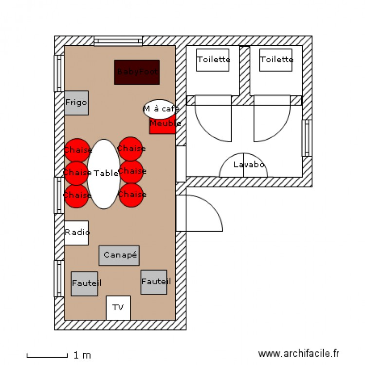 Salle de repos plan 2 pi ces 28 m2 dessin par chacha123 for Salle repos