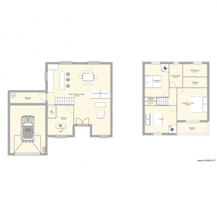 Plan 105 m2 plan 14 pi ces 133 m2 dessin par ezeddine for 105 plan