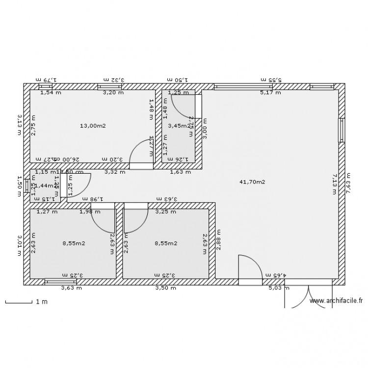 Maison f3 2 plan 6 pi ces 77 m2 dessin par hodidie for Dessine mes plans de maison