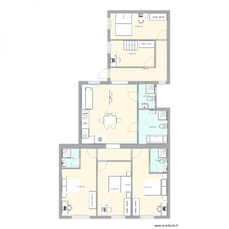 114 m2 almassy ter amenagement plan 25 pi ces 219 m2 dessin par sebpartnercom. Black Bedroom Furniture Sets. Home Design Ideas