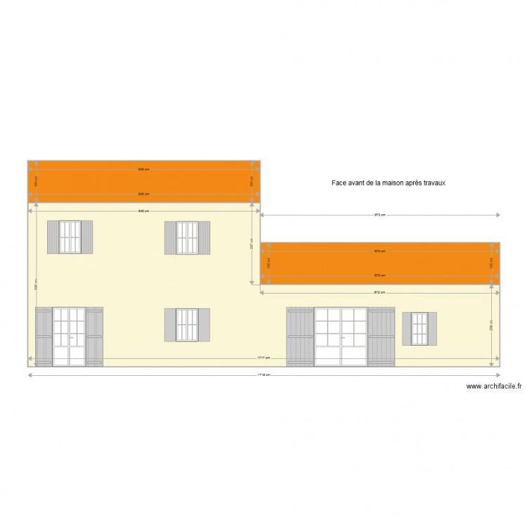 facade avant apr s travaux plan 3 pi ces 102 m2 dessin par salles sur mer. Black Bedroom Furniture Sets. Home Design Ideas
