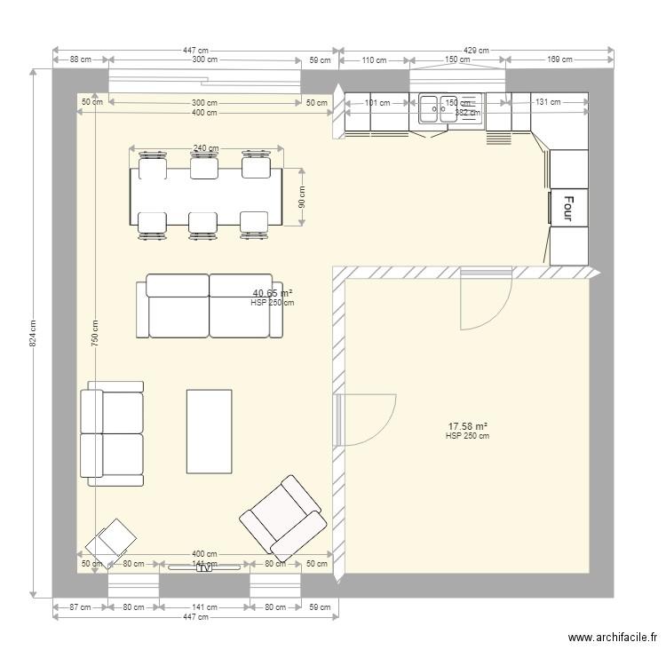 plan de maison 2 plan 2 pi ces 58 m2 dessin par maison t. Black Bedroom Furniture Sets. Home Design Ideas