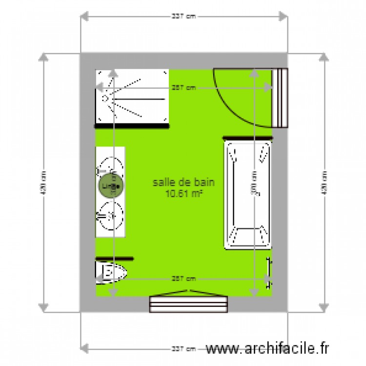 salle de bain 2 plan 1 pi ce 11 m2 dessin par cha167. Black Bedroom Furniture Sets. Home Design Ideas