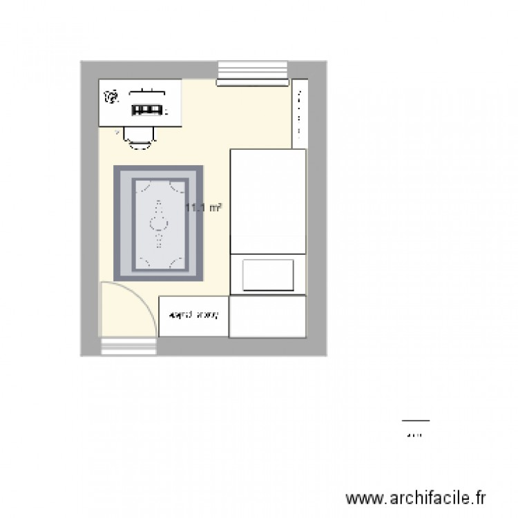 Chambre plan 1 pi ce 11 m2 dessin par aproxim for Chambre one piece