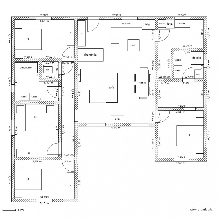 Plan interieur maison en u for Plans maisons en u