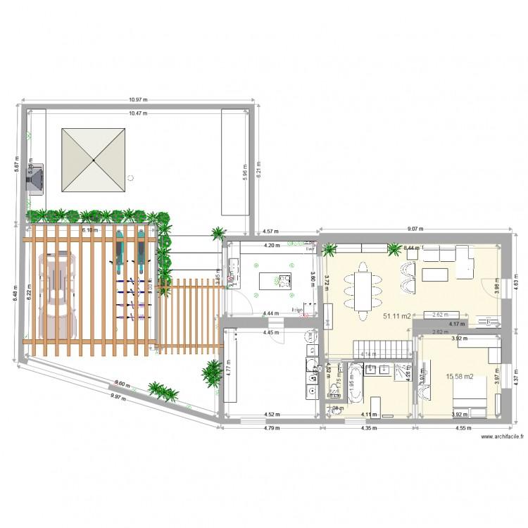 Renov maison plan 2 pi ces 67 m2 dessin par rasapli2015 for Agrandissement maison rectangulaire