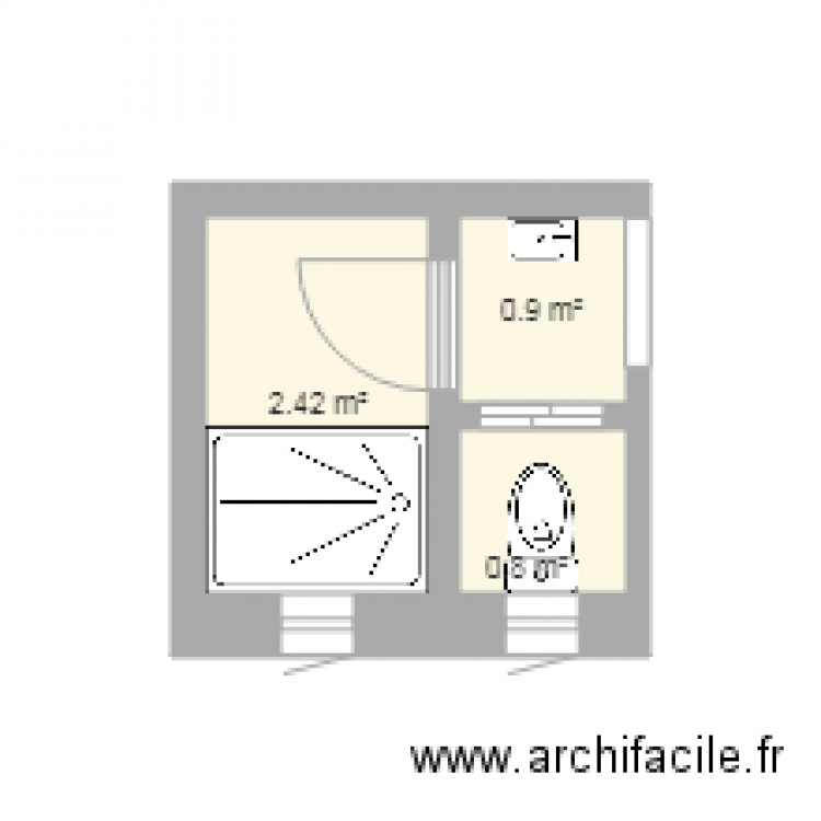 Ma salle de bain plan 3 pi ces 4 m2 dessin par aero13 for Salle de bain 4 m2