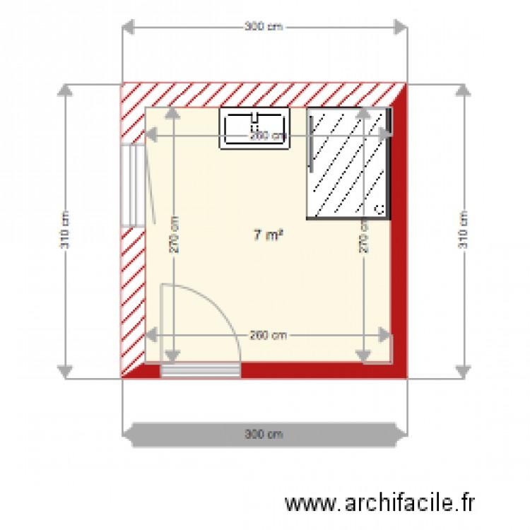 Plan de salle de bain plan 1 pi ce 7 m2 dessin par for Salle de bain 7 5 m2